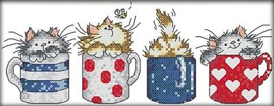 Cats Hide in the Cups. 14CT counted cross stitch kit. Craft brand new.