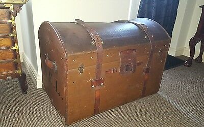 Leather Dome Topped Trunk With Straps