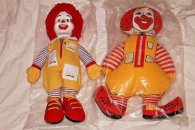"Ronald McDonald 1980s  15 "" AND 16"" DOLLS New in Original Bags Stored 1 Owner"