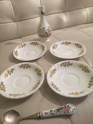 Aynsley Cottage Garden 4 Saucers, 1 Vase And Pemebrook Spoon