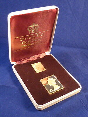 THE BRITISH DEFINITIVE STAMP ISSUE SET - TWO 22ct YELLOW GOLD STAMPS -  38.3g