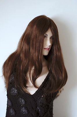 "Gorgeous 100% Human Hair 23"" Long Mono Wig by Hair World Brown New"