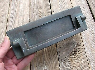 Old Solid Bronze Letter Box Plate / Door Mail Slot with Knocker