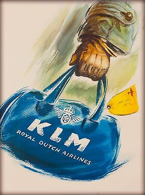 KLM Royal Dutch Airlines Holland Netherlands Vintage Travel Advertisement Poster
