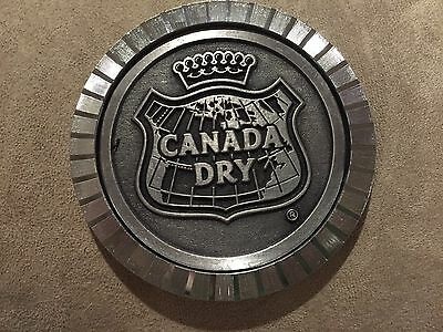 Canada Dry Metal Embossed Crown Shaped Map Outline Coaster Felt Back Sign EUC