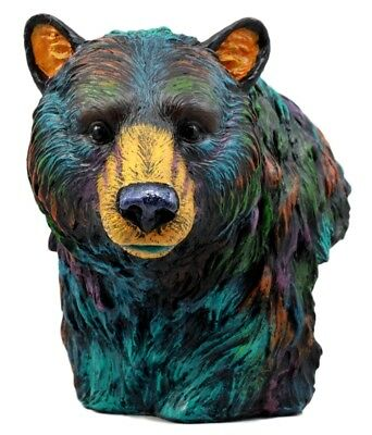 "Colorful Bear Bust 7"" Height Artistic Figurine Resin Statue"