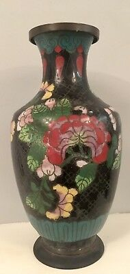 Japanese Cloisonne Vase, Meiji / early 20th C Period Decorated With Flowers 20cm
