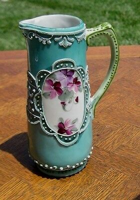 Antique Vtg Moriage Hand Painted Violets Small Pitcher Teal Background 5 1/2""