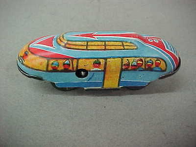 WIND-UP TIN LITHO TOUR BUS w/SKY DECK FOR USE WITH TUNNEL OR SIMILAR TOY SETS