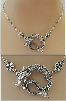 Silver Dragon Strand Necklace Jewelry Handmade NEW adjustable Fashion Cosplay