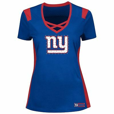 New York Giants Nfl Majestic Womens Draft Me Bling Shirt M-L