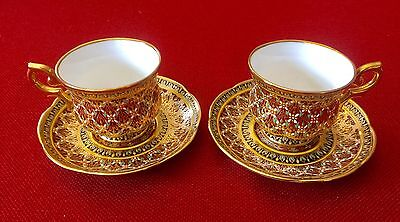 Maroon Gold Hand Painted Set of Two Bone China Demitasse Cup & Saucer Sets.