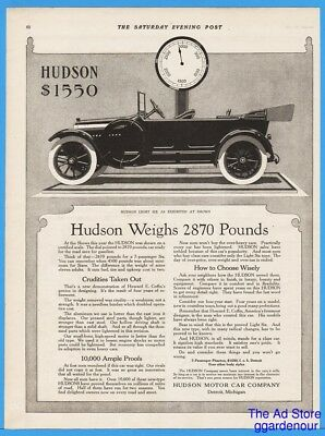1915 Hudson Light Six Motor Car Open 4 Door Soft Top On Scales Antique Auto Ad