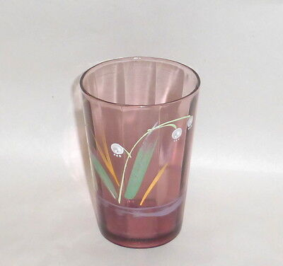 """Antique 4"""" Amethyst Water Glass Tumbler with Enamel Lily of Valley Hand Painting"""