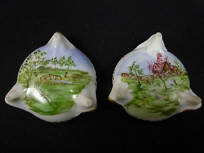 2 Antique Continental Porcelain Salt Dips - Hand-Painted Rural Scenes - Germany?
