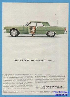 1962 Lincoln Continental When You're Old Enough To Drive 60's Green Car Photo Ad