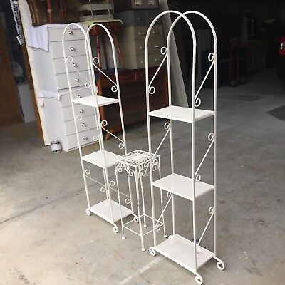 3 Wrought Iron Plant Stands Off White - Buy Now.