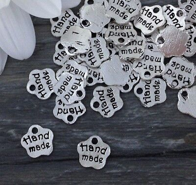 Bulk Hand Made Word Charms 5 10 20 50 or 100 pcs Silver Tiny Tags CH314