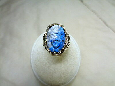 Vintage Chinese Silver Filigree Ring Carved Blue Lapis? Stone