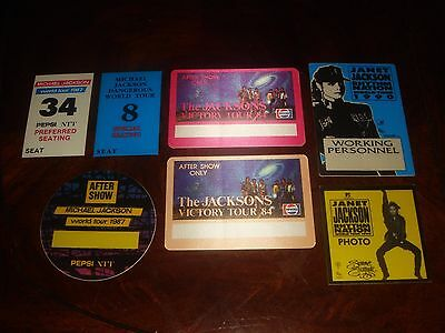 Rare LOT OF 7 MICHAEL JACKSON + JANET CONCERT MEMORABILIA - BACKSTAGE PASSES