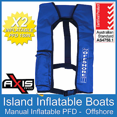 2 x AXIS OFFSHORE INFLATABLE  LIFEJACKET BLUE 150N PFD1 Manual Jacket FREE POST