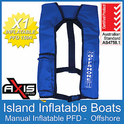 AXIS OFFSHORE INFLATABLE  LIFEJACKET BLUE 150N PFD1 Manual Life Jacket FREE POST