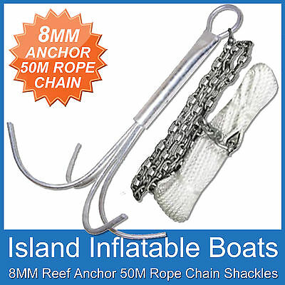 8MM REEF ANCHOR ✱ BOAT ANCHORING KIT ✱ 2M Gal Chain, 50M x 6mm Rope FREE POSTAGE