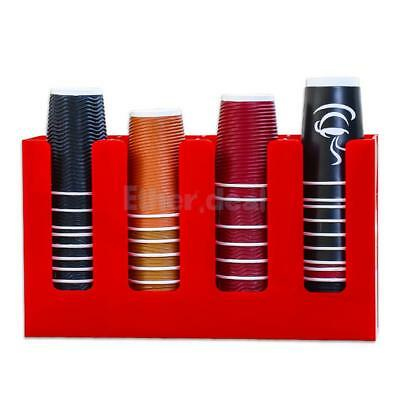Paper Cup Lid Holder Dispenser Coffee Drink Stand Cafe Home Buffet Red #2