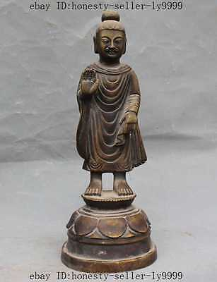 "9""old chinese buddhism pure bronze fane Taoism buddha Heavenly master god statue"