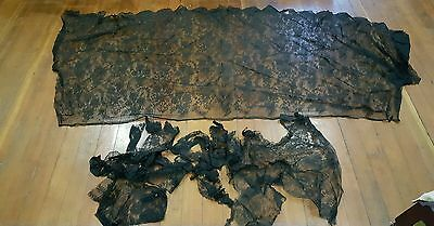 """ANTIQUE 1890's VICTORIAN BLACK CHANTILLY lace   MOURNING remnants 88"""" L 40""""W +pc"""