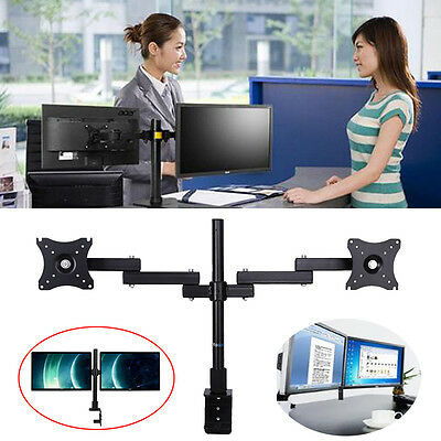 "2 Arms Dual LCD Monitor Stand Desk Mount Bracket Tilt & Swivel Screen 13-27"" AU"