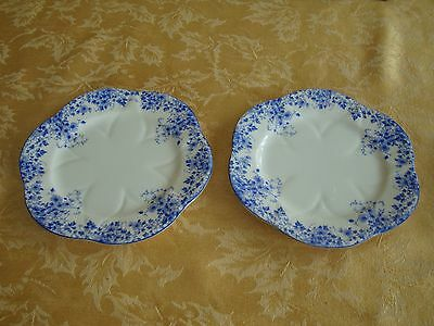 "Pair of Shelley Dainty Blue Daisy Pattern Fine Bone China 6"" Plates"