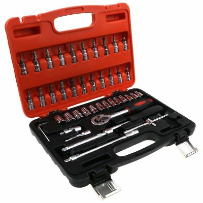 Mechanics Tool Set SAE Metric Sockets Wrenches Hex Home Hand Tools Kit 45-Piece