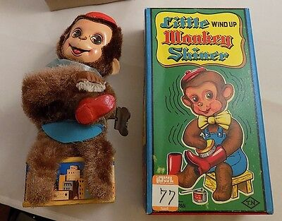 Vintage Wind Up Little Monkey Shiner W/ Nice Box 1950's Japan
