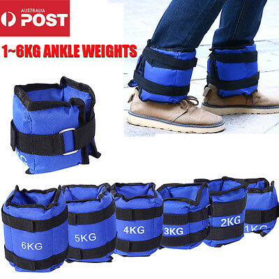 1-6kg 2Pcs Adjustable Ankle Weight Strap Gym Equipment Wrist Fitness Workout AU