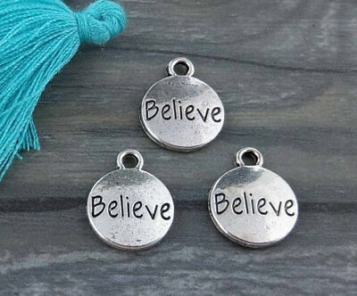 Believe Word Charms 5 10 20 50pcs Antique Silver for Bracelets and Jewelry CH317