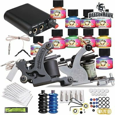 Tattoo Kit 2 Machine Gun USA color ink Tip Power Supply Set 20 Needles W