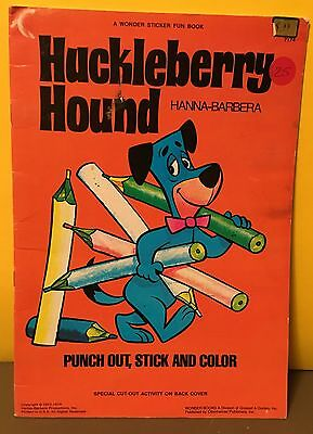 Huckleberry Hound Punch Out, Stick and Color Book - 1974 - FREE SHIPPING!