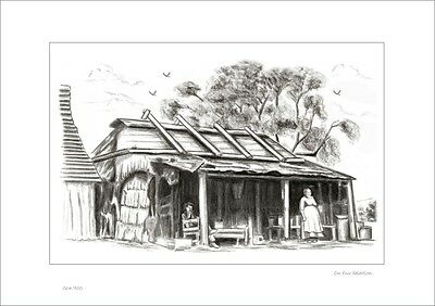 On Our Selection    Australian Pencil  Drawing   Limited Edition Print