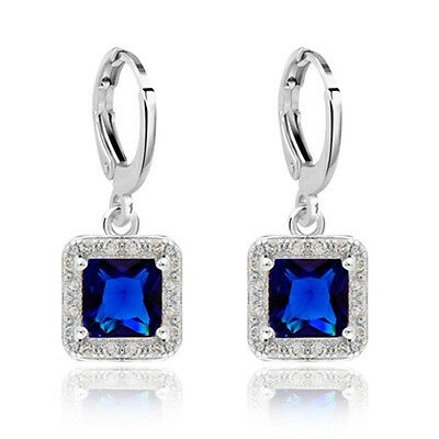 Women's 925 Silver Ear Stud Princess Sapphire Dangle Drop Hoop Earrings Jewelry