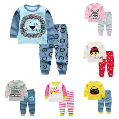 2pcs Kids Baby boys girls clothes top+pants cotton baby pajamas sleepwear