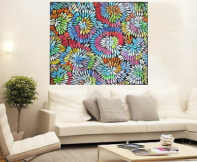 Aboriginal Oil Art Painting large canvas by  jane crawford Bush Flower 32 inch