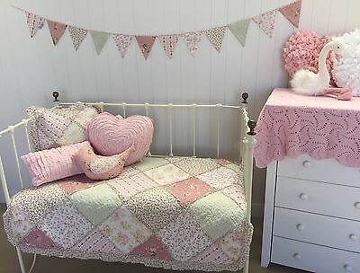 6pc Lila Lulu Girls Baby Cot Quilt Nursery Vintage Floral Shabby Chic Bedding