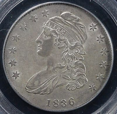 1836 50C Lettered Edge Capped Bust Half Dollar PCGS AU 58