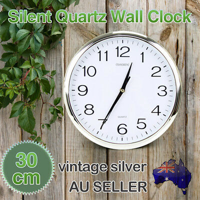 Silent Round Wall Mountable Quartz Analogue Clock Silver 30cm Home Office Decor