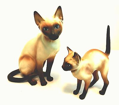 Vintage Japan Siamese Cats Two Porcelain Figurines Mid-Century 5.5 inches Tall