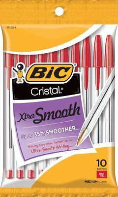 BIC Cristal Xtra Smooth Ball Pen, Medium Point 1.0 mm, Red, 10-Count