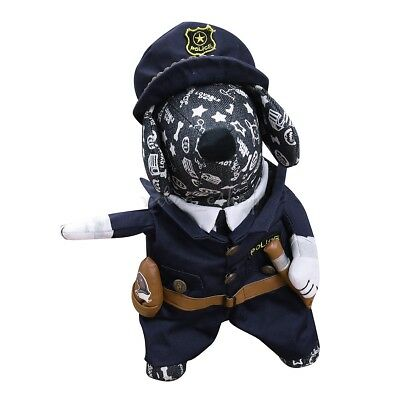 Pet Dog Cat Costume Police Cosplay Party Outfits Clothes Halloween Fancy Apparel