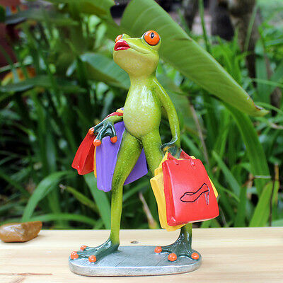 1X Green Frog Figurine Resin Frogs Colleation Crazy Shopping Lady Frog