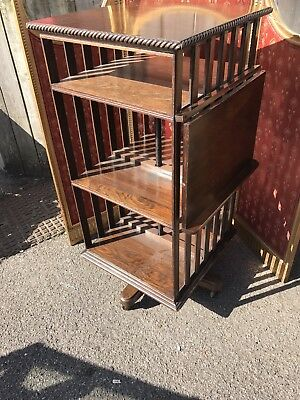 Impressive Antique Oak Revolving 3 Tier Library Bookcase with Book Rest